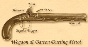 Her dueling pistol, Wogdon & Barton, the best money could buy.